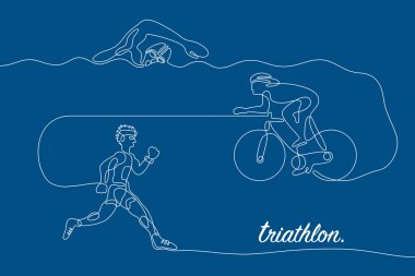 Triathlon. Linear line graphic.