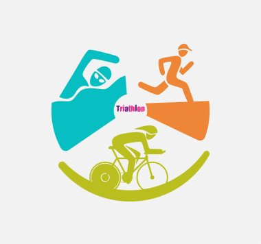 Triathletes are swimming running and cycling icon in colorful circular graphic.