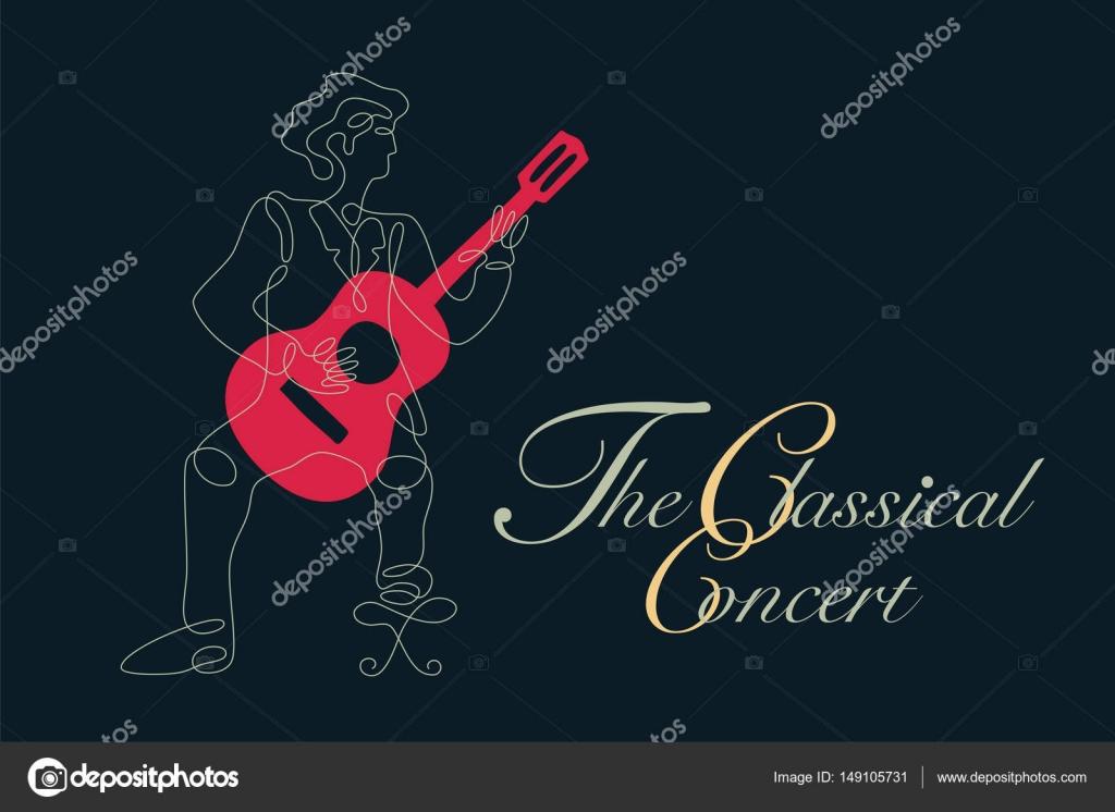 Graphique De La Guitare Classique Avec Une Simple Ligne De Dessin En