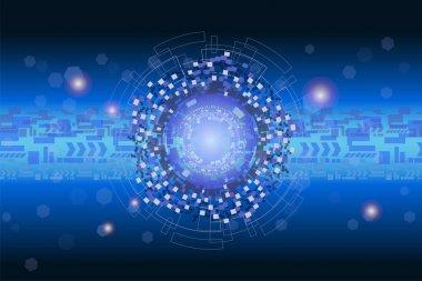 Futuristic digital graphic and data technology concept.
