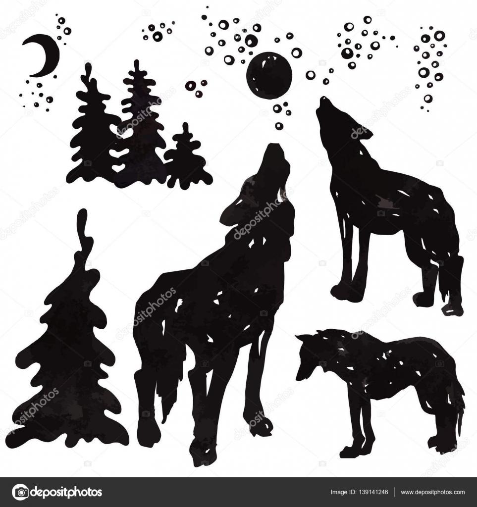 Lobos Aullando A La Luna Vector De Stock Elonalaff 139141246