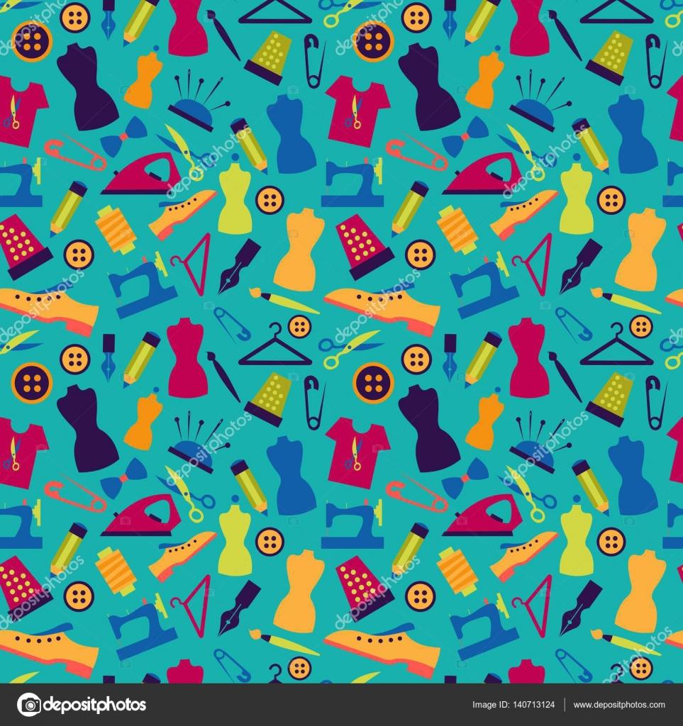Nahtlose Muster mit Nähzeug — Stockvektor © Elonalaff #140713124