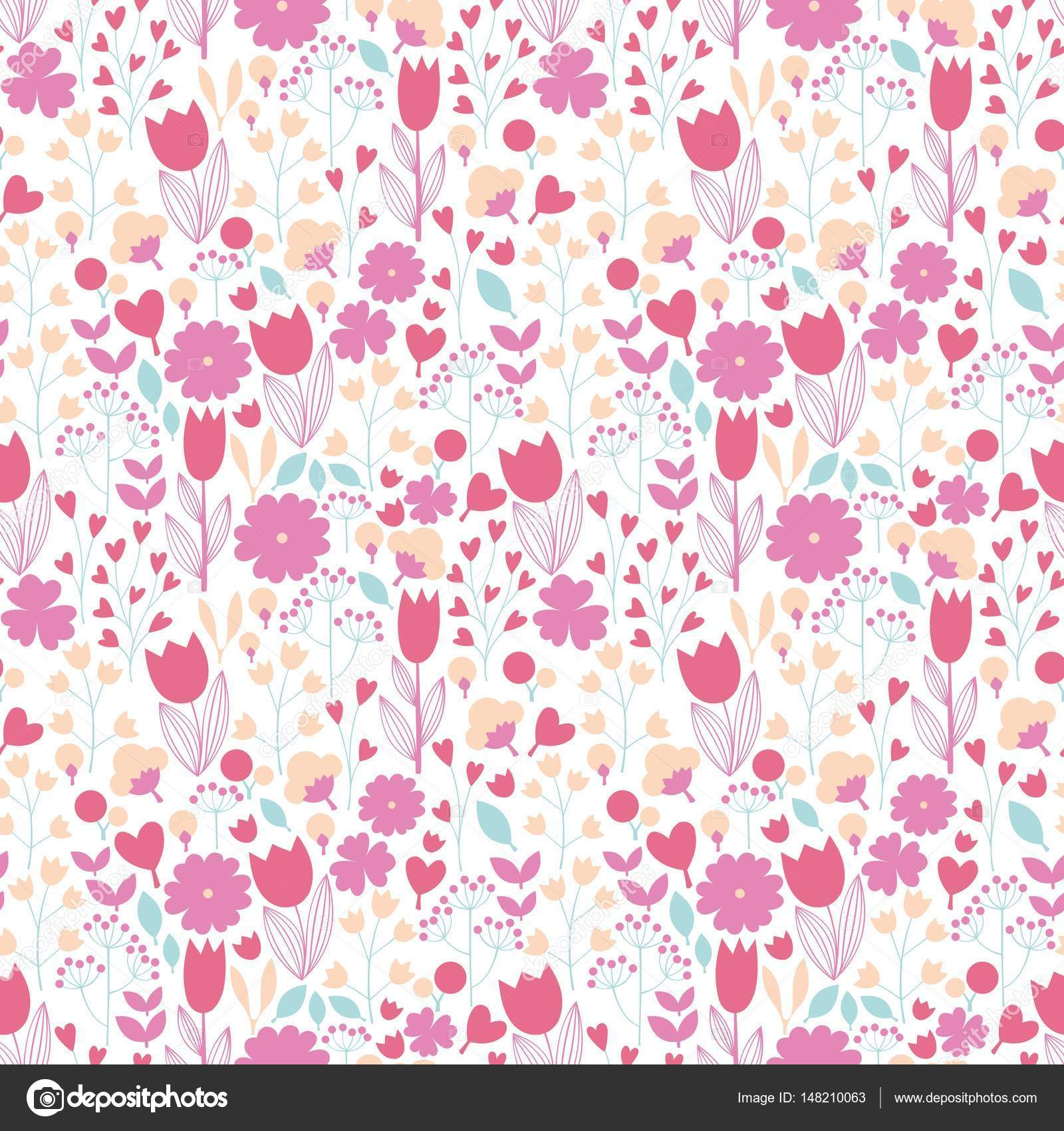 Cute Pink Flowers On A White Background Stock Vector Elonalaff