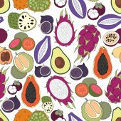 Exotic fruits. Vector seamless pattern