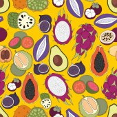 Exotic fruits. Vector seamless pattern for design