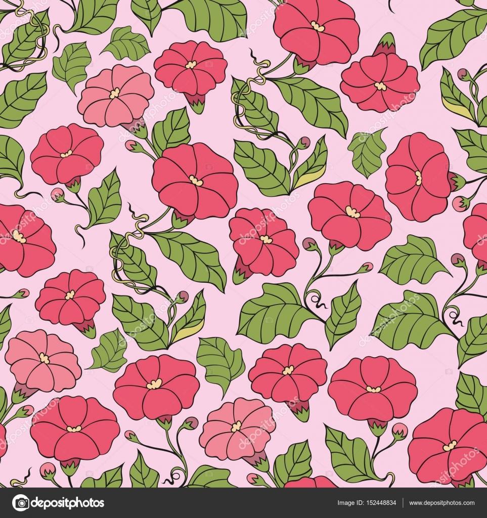 3ace09df7349 Χωρίς ραφή πρότυπο διάνυσμα με λουλούδια σε ροζ φόντο. Διακοσμητικό ...