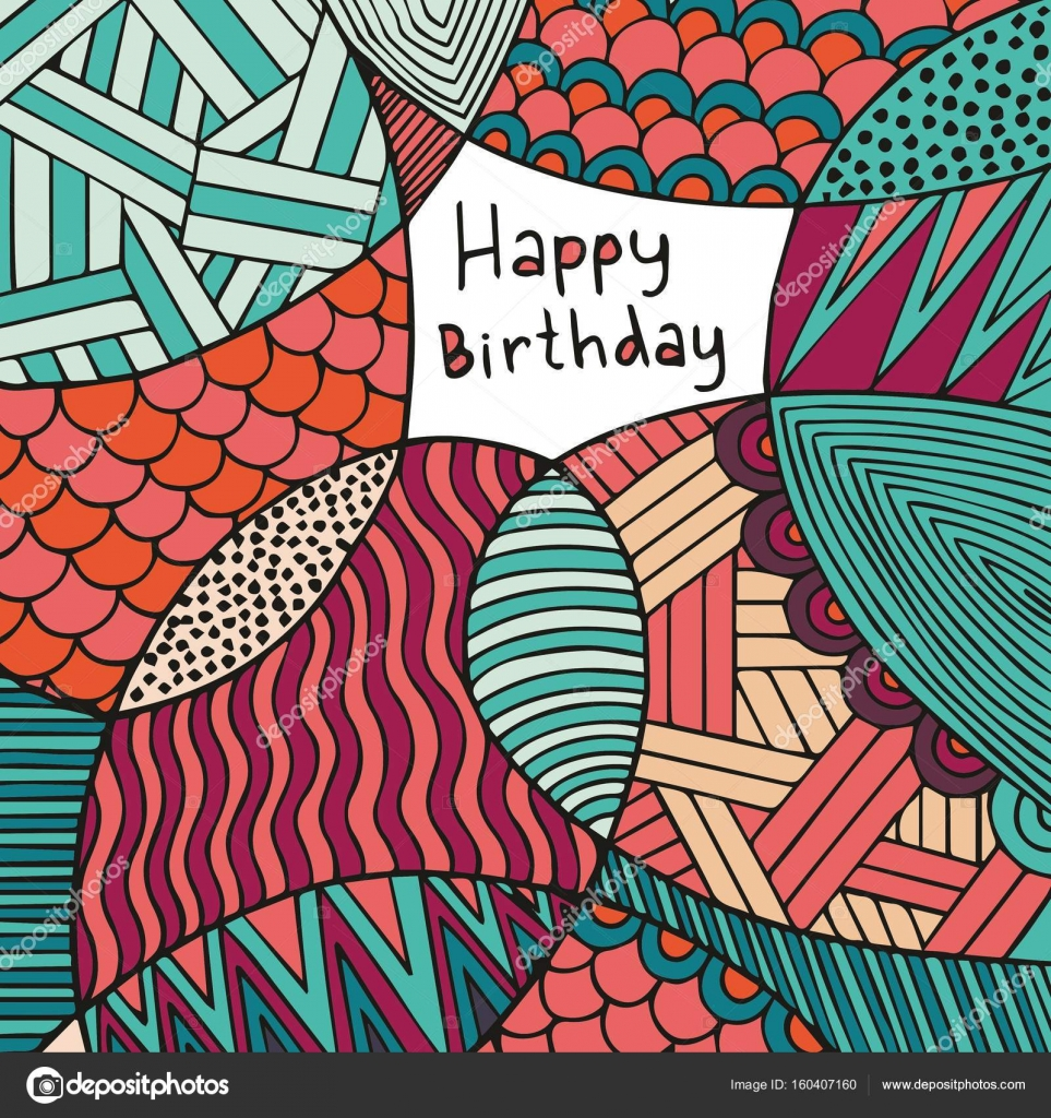 Happy Birthday Card Hand Drawing Colorful Decorative Background
