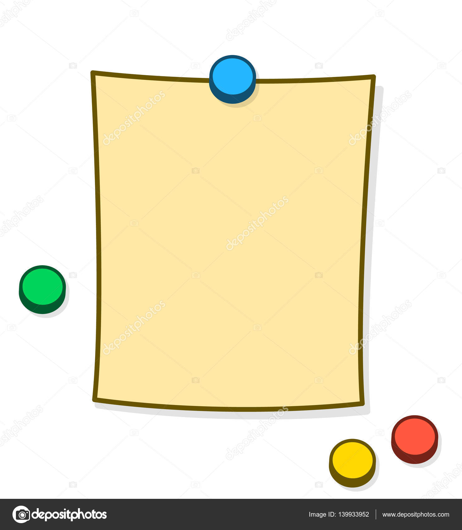 Blank Memo   Blank Memo Or Note With Thumb Tacks Or Magnets Stock Vector C A N