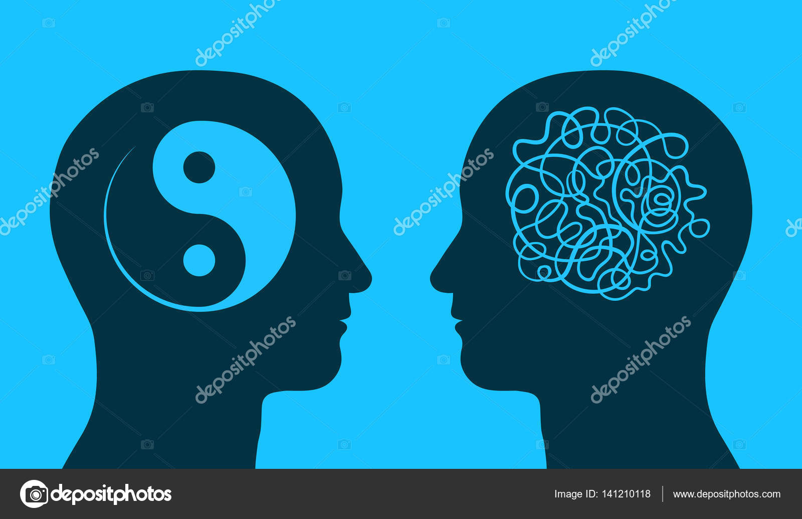 Yin yang and chaos symbol in thinking heads stock vector an yin yang and chaos symbol in thinking heads stock vector biocorpaavc