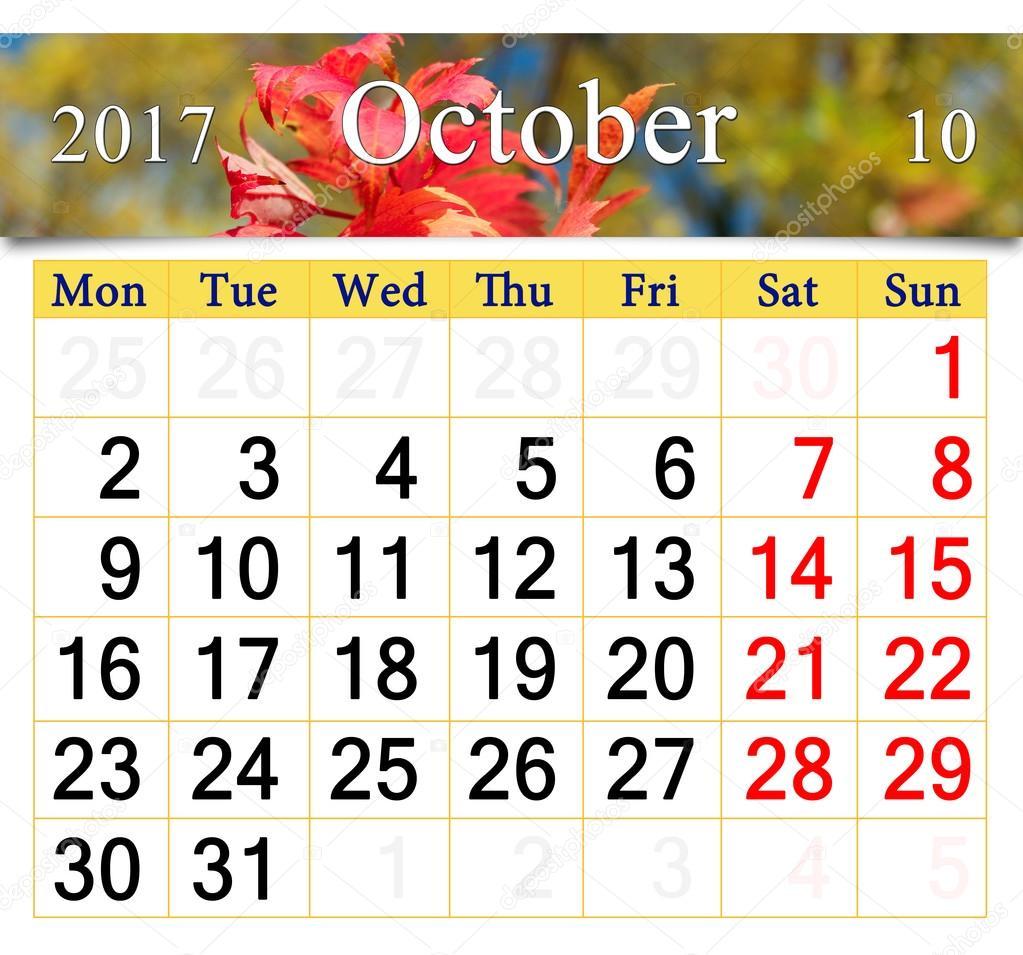 Hojas de calendario para octubre de 2017 oto o rojo Fase lunar octubre 2016