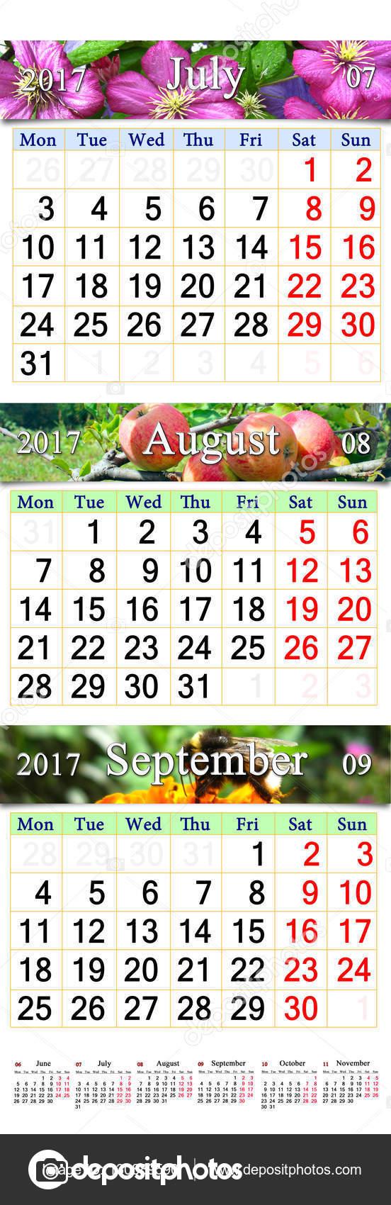 Calendario Luglio Agosto.Calendario Per Luglio Agosto Settembre 2017 Con Tre Immagini