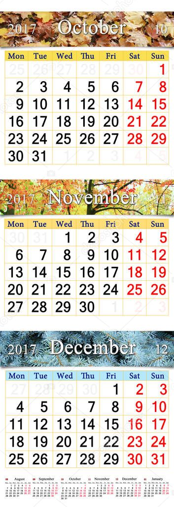 October November and December 2017 with colored pictures in form of calendar