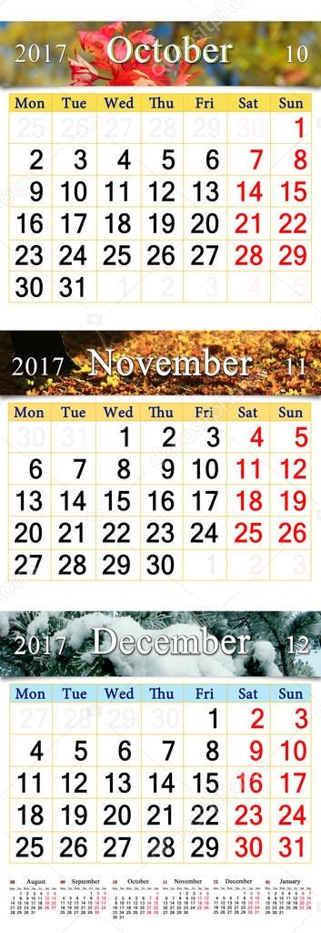 calendar for October November and December 2017 with colored pictures