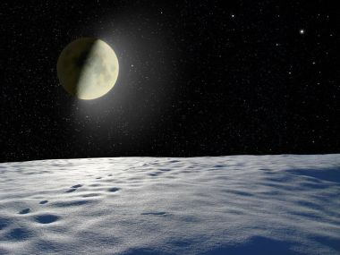 Moon glowing near the surface unknown planet