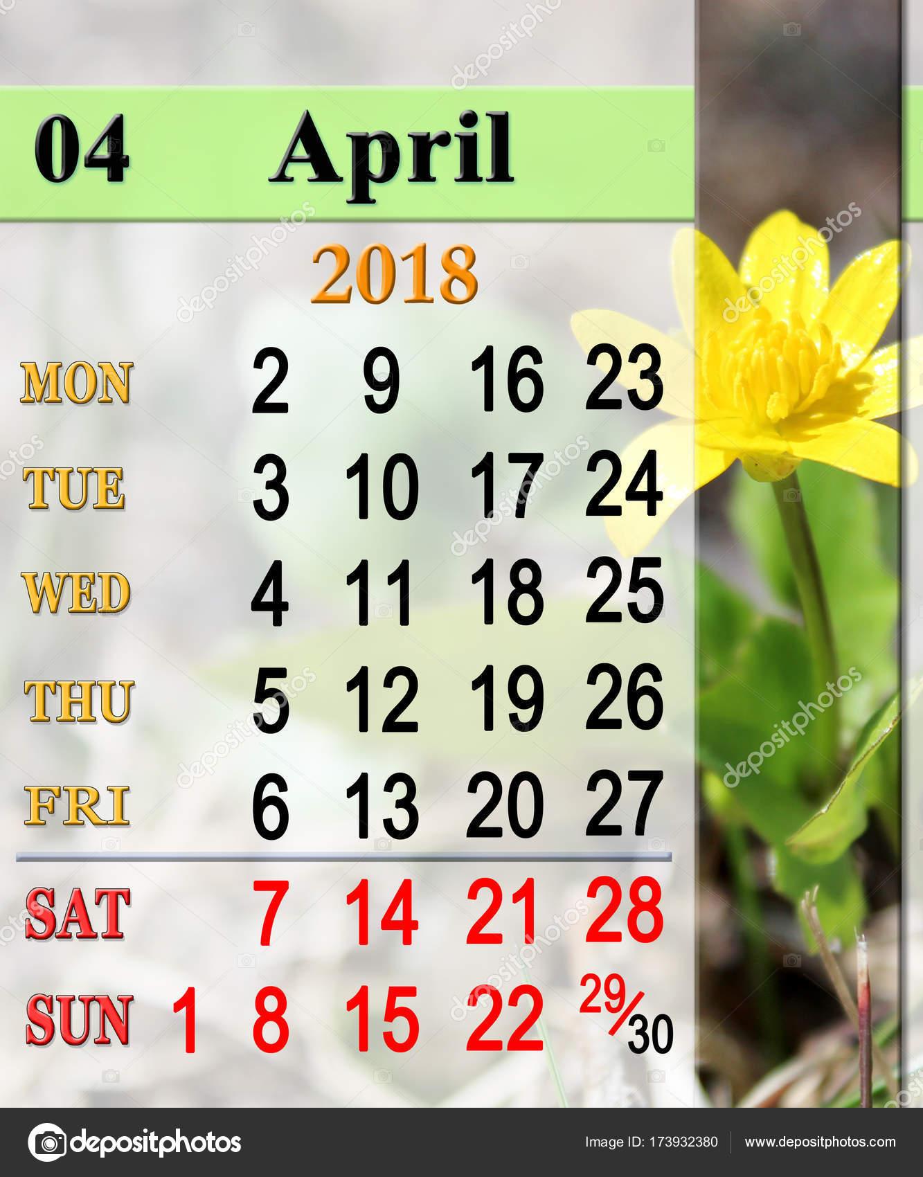 Calendrier D Avril 2018 Avec Fleur De Ficaire Photographie