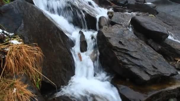 falling water from Hoverlyanski waterfall in Carpathian mountain