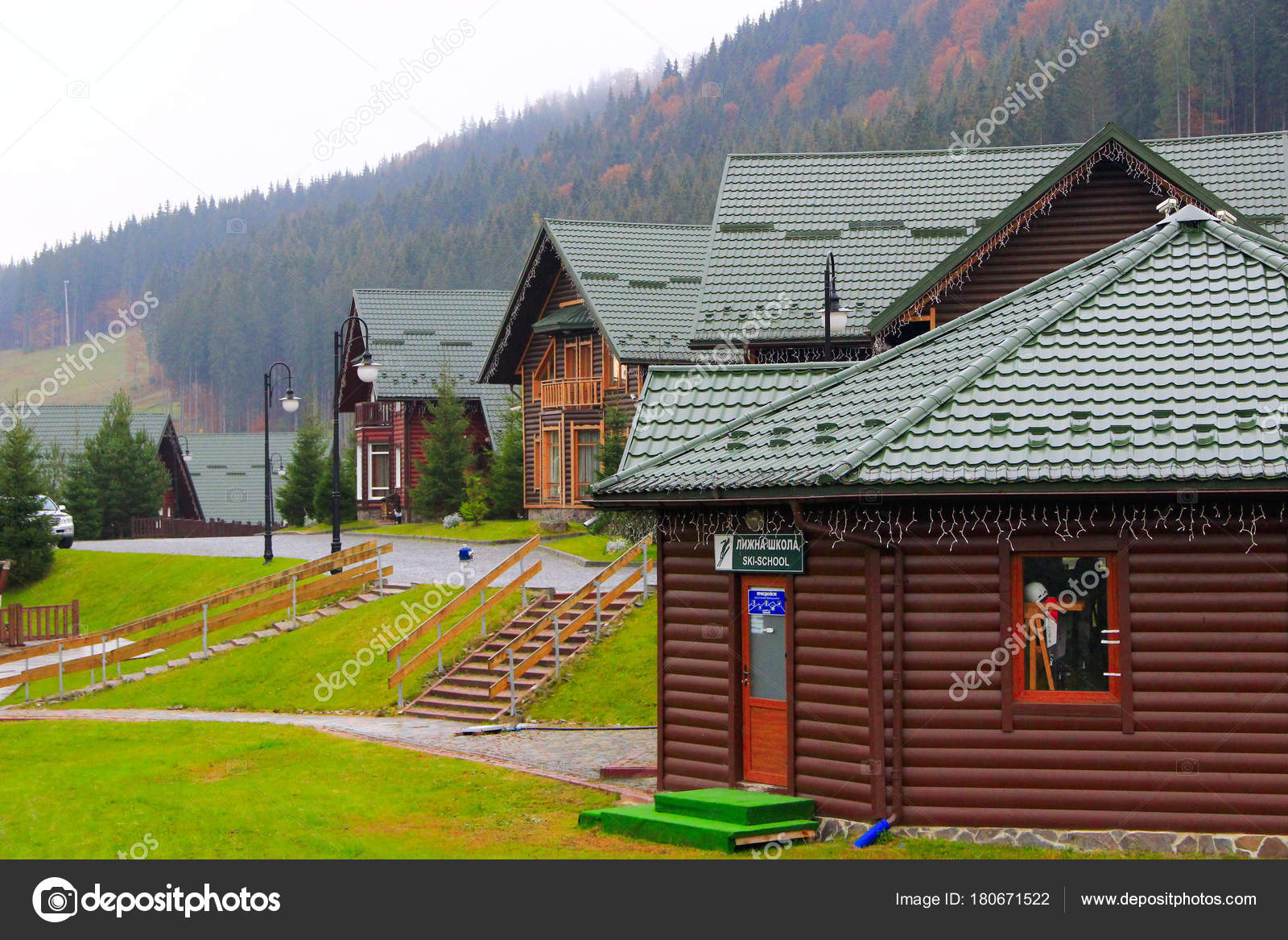 beautiful houses in the carpathian mountains of bukovel resort in
