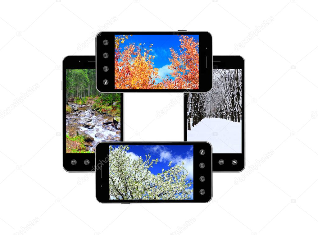 Modern mobile phones with images of four seasons