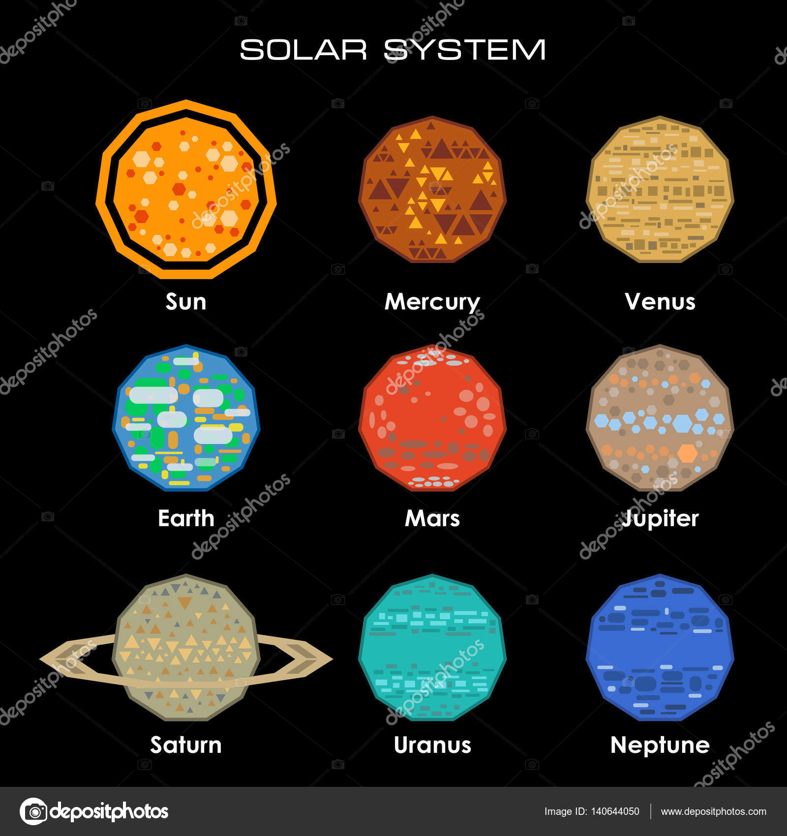 vector solar system with planets stock vector d1min 140644050
