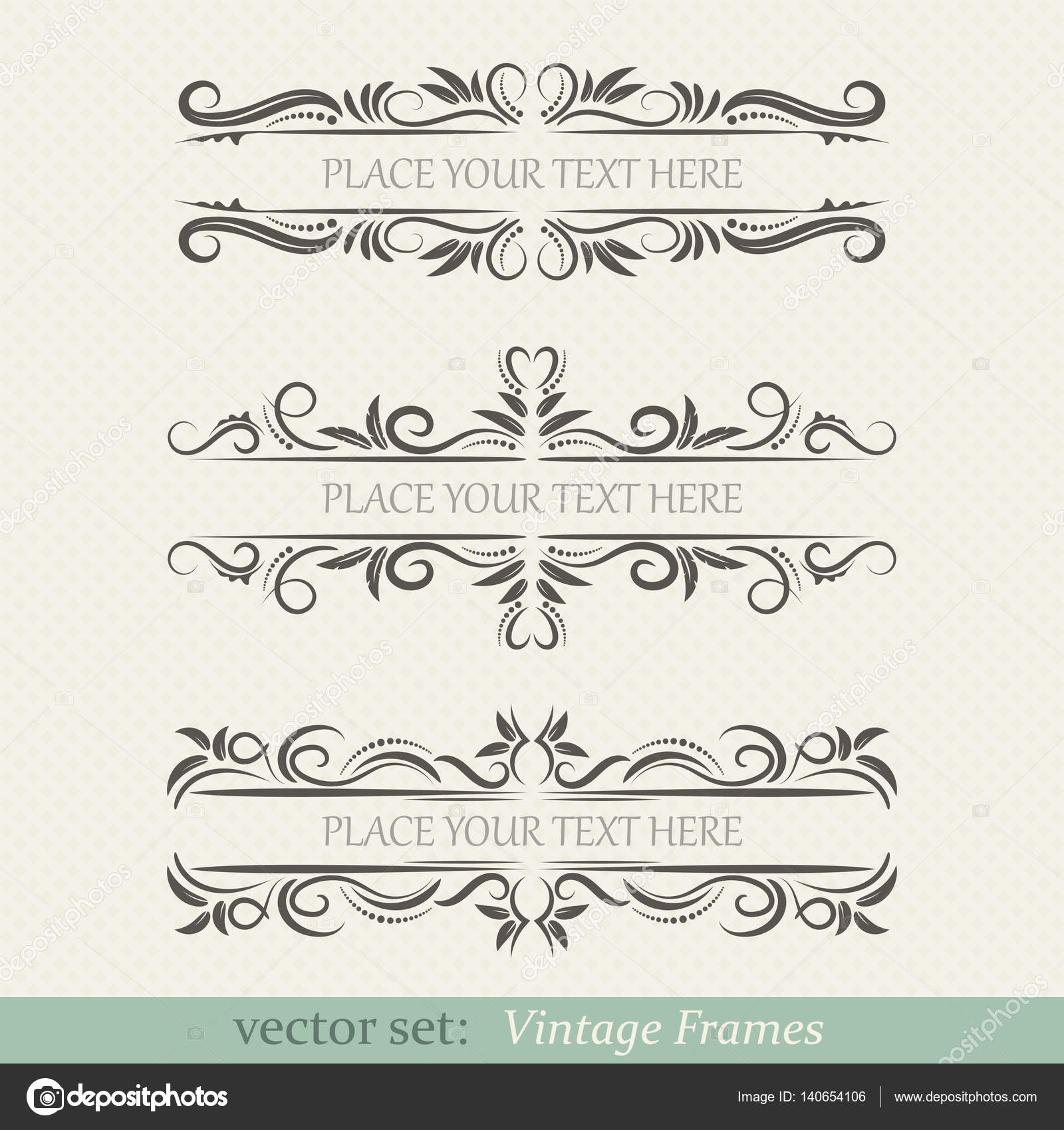 Vector set of vintage frames — Stock Vector © D1min #140654106