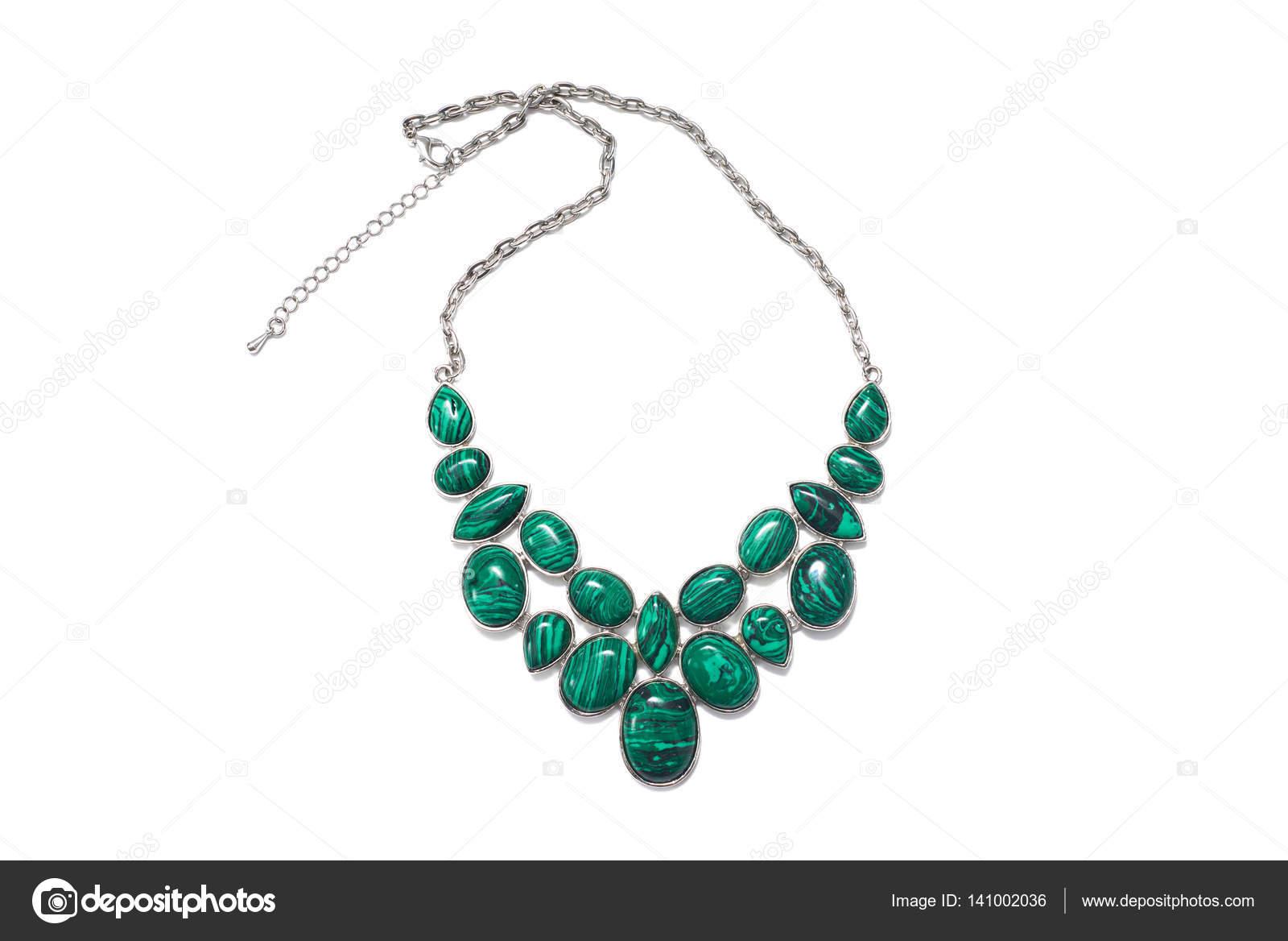 Voorkeur sieraden juwelen bijouterie ketting met groen Malachiet stenen en @DE17