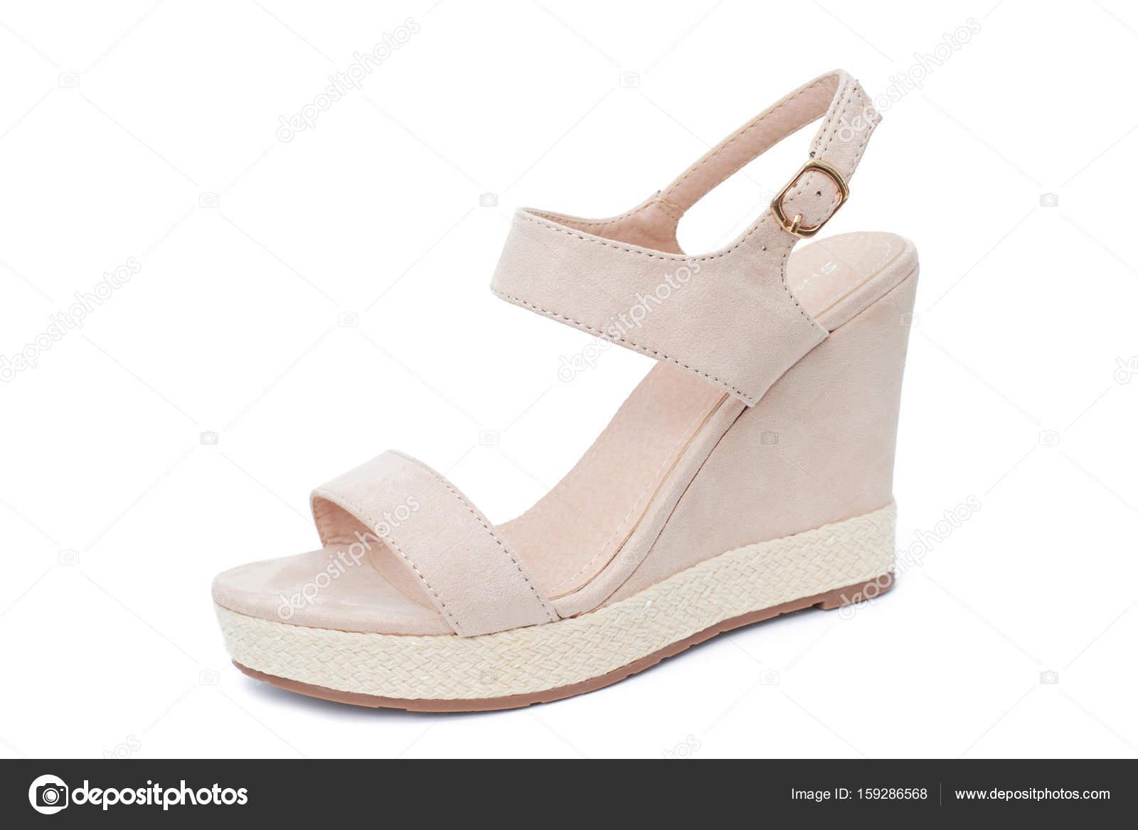 edfed68b82c Beige wedge sandal isolated on white background — Stock Photo ...