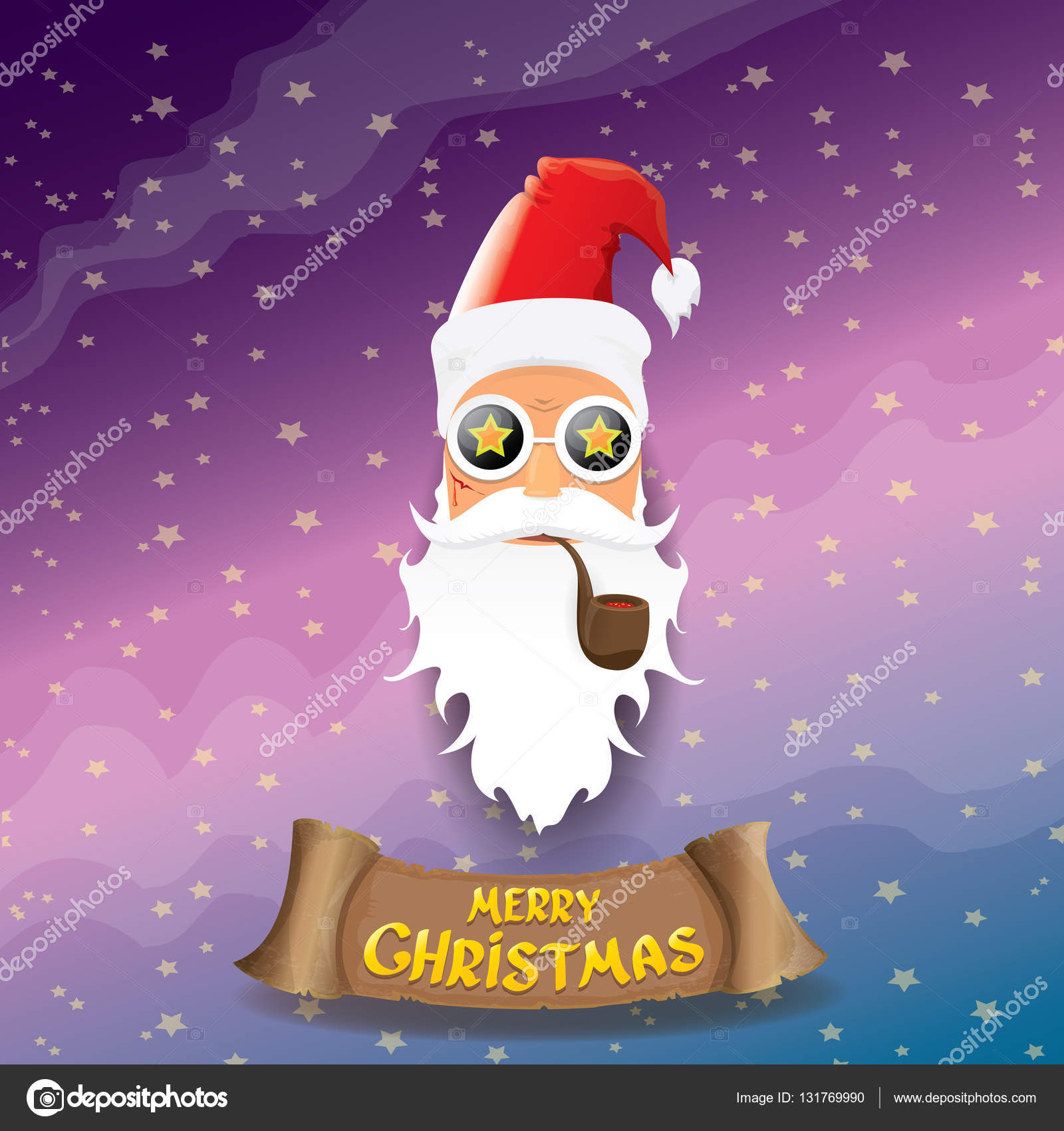 Vektor Rock \' n Roll Cartoon-funky Santa Claus Ikone — Stockvektor ...