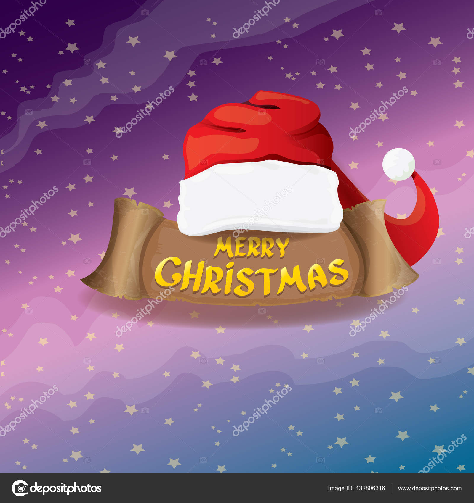 Vector Red Santa Hat Greeting Text Merry Christmas Stock Vector