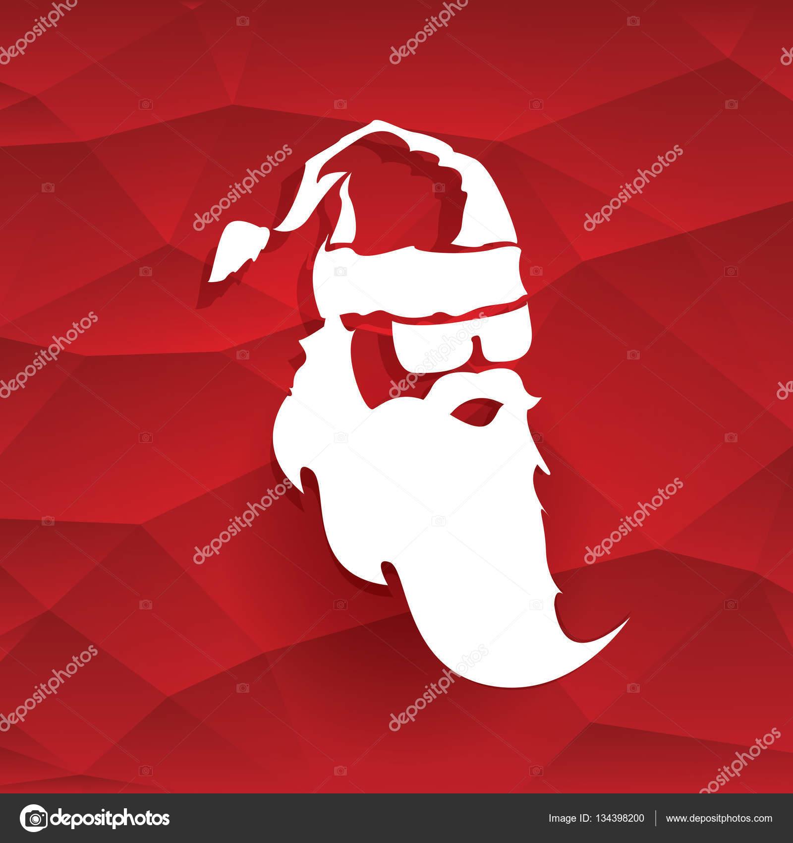 Vector Christmas Hipster Santa Claus Greeting Card Stock Vector