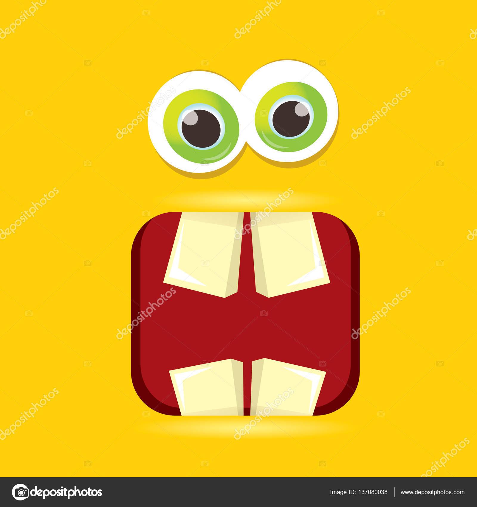 Vektor orange lustiges Monster Gesicht — Stockvektor © zm1ter #137080038