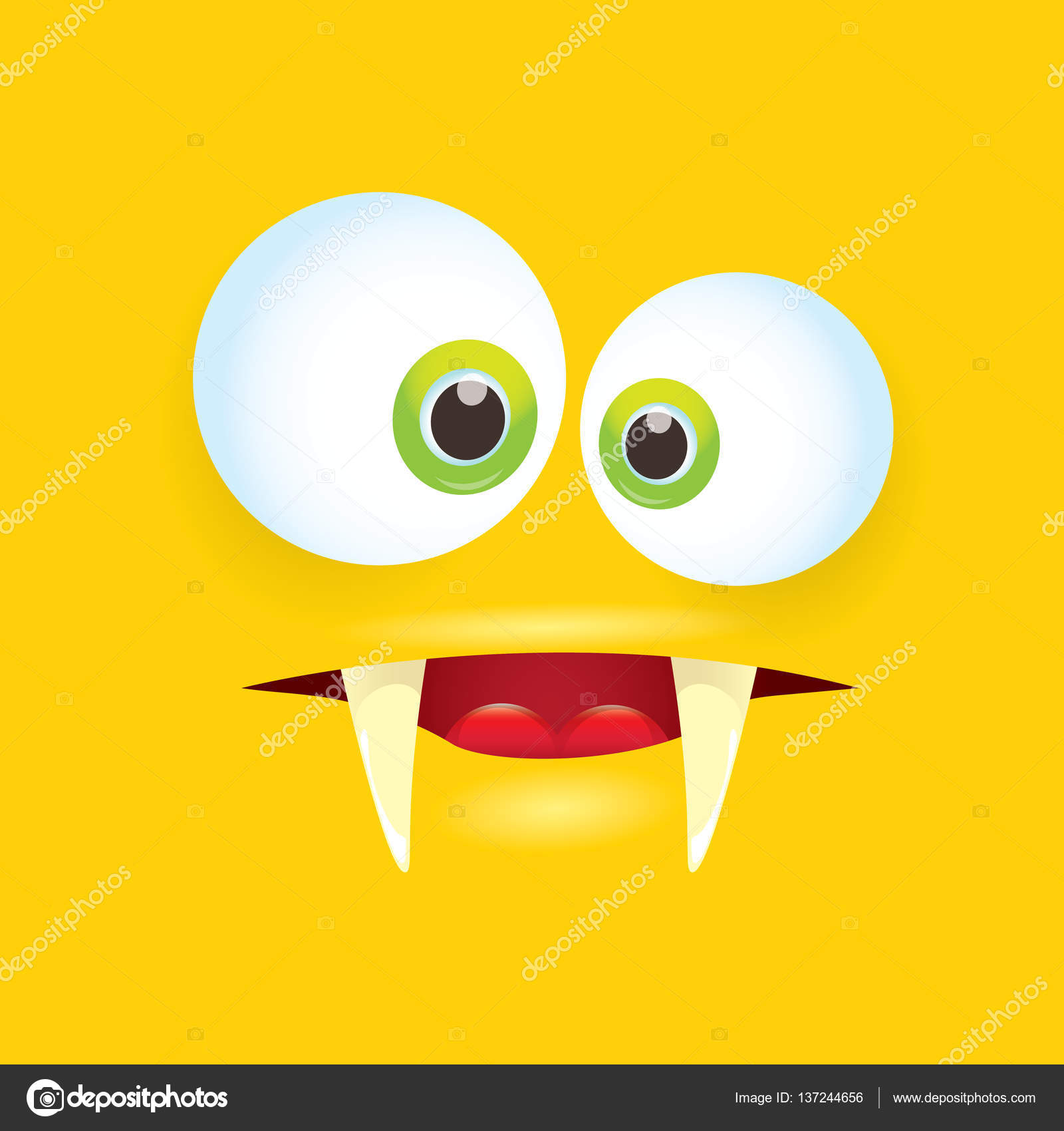 vector orange funny comic monster face stock vector zm1ter