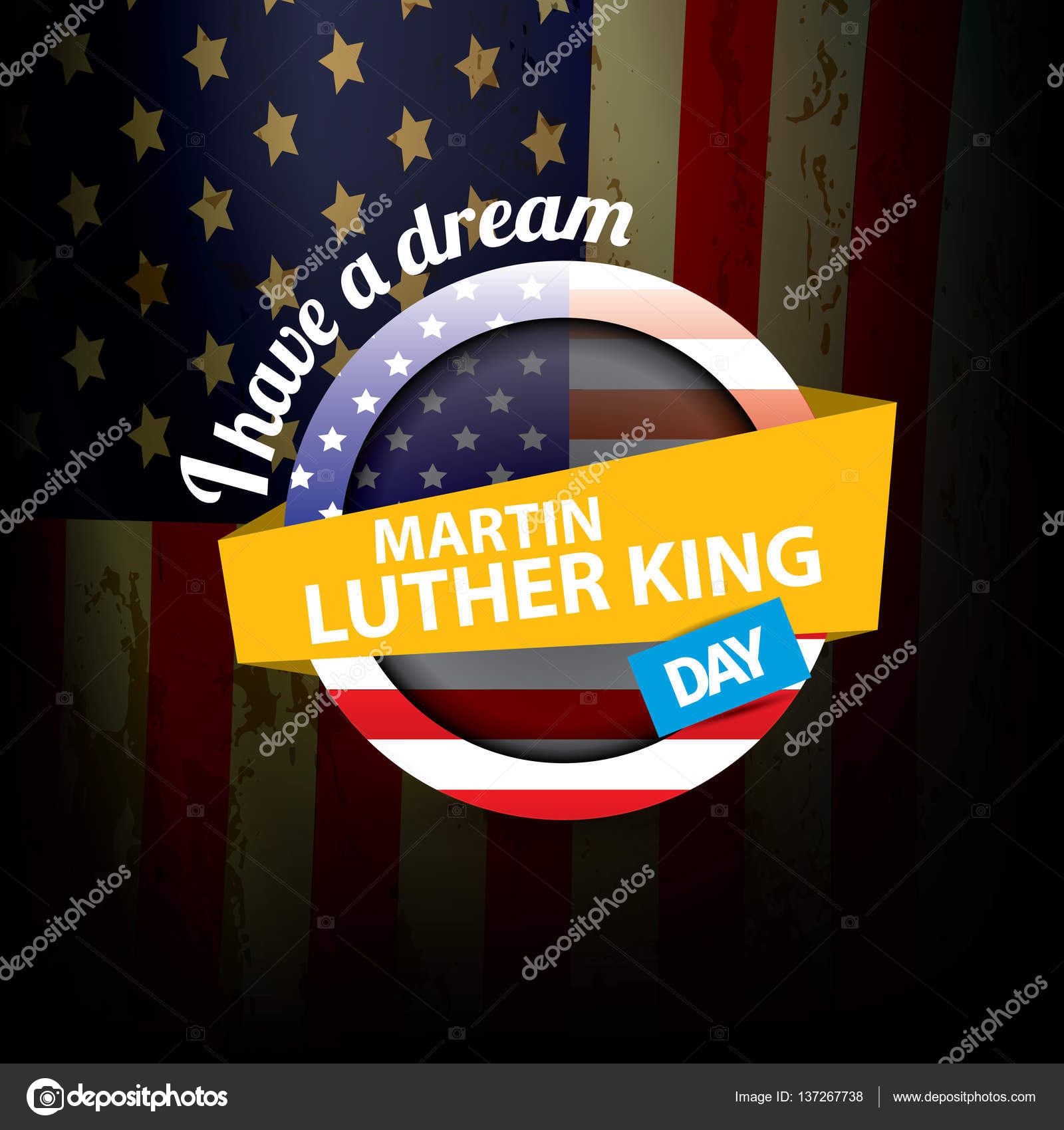 Vector Martin Luther King Day Us Sticker Or Label Stock Vector