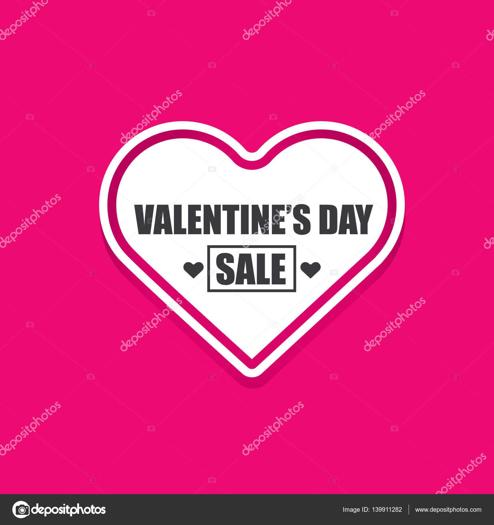 Día de San Valentín corazón etiqueta venta aislada en rosa — Vector ...