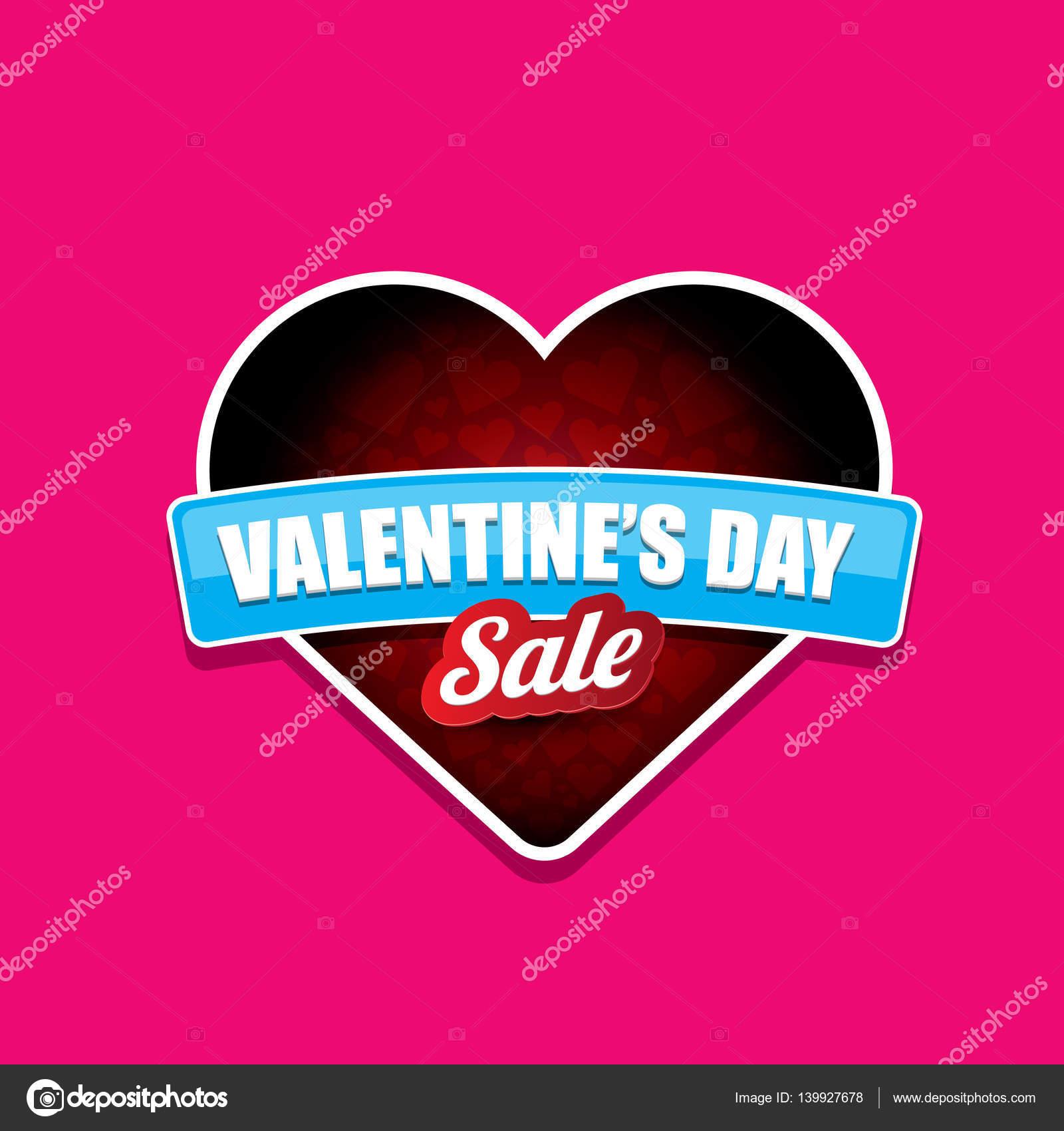 Día de San Valentín corazón etiqueta venta aislada en rosa — Archivo ...