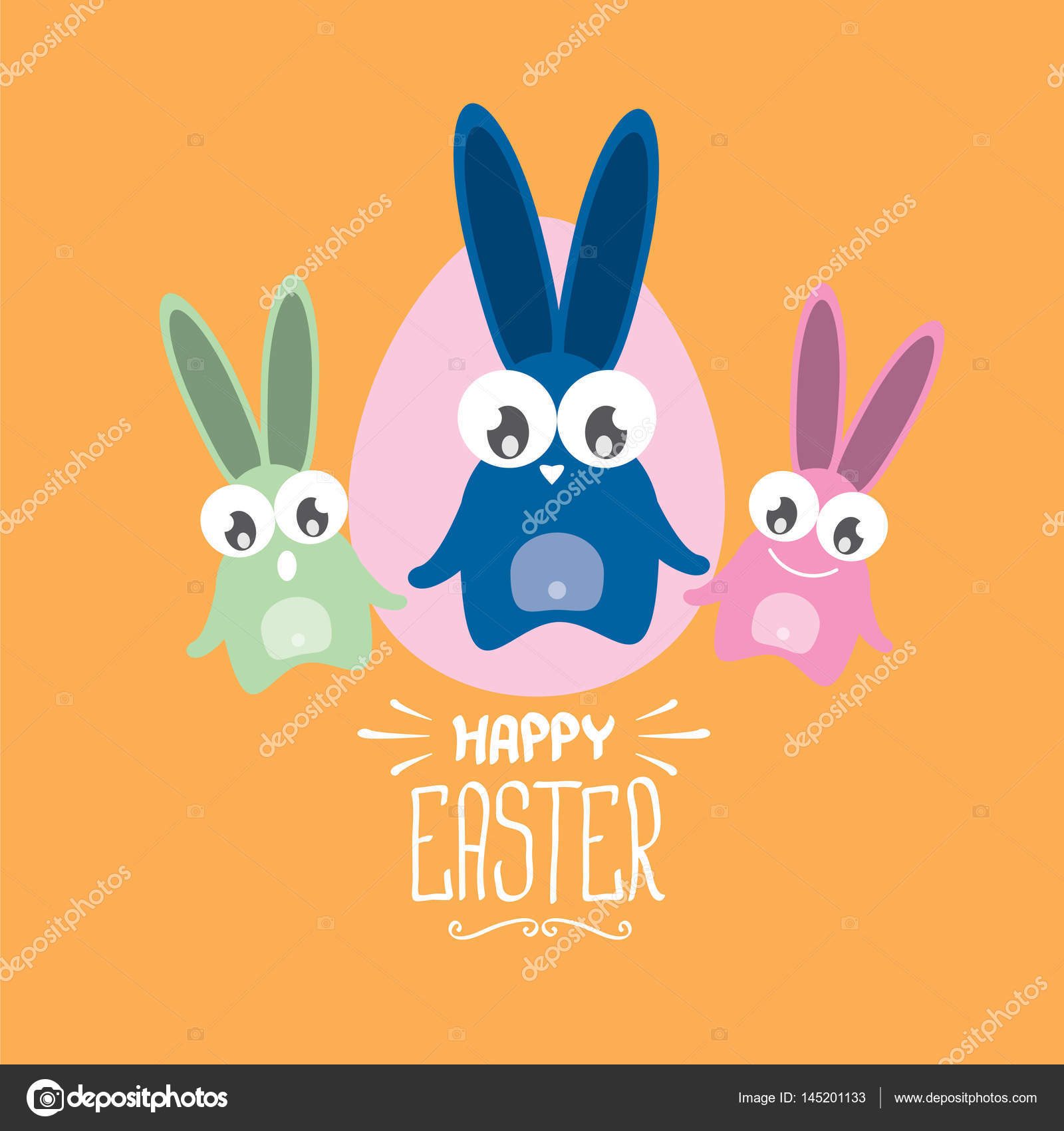Vector Happy Easter Greeting Card With Funny Bunny Stock Vector