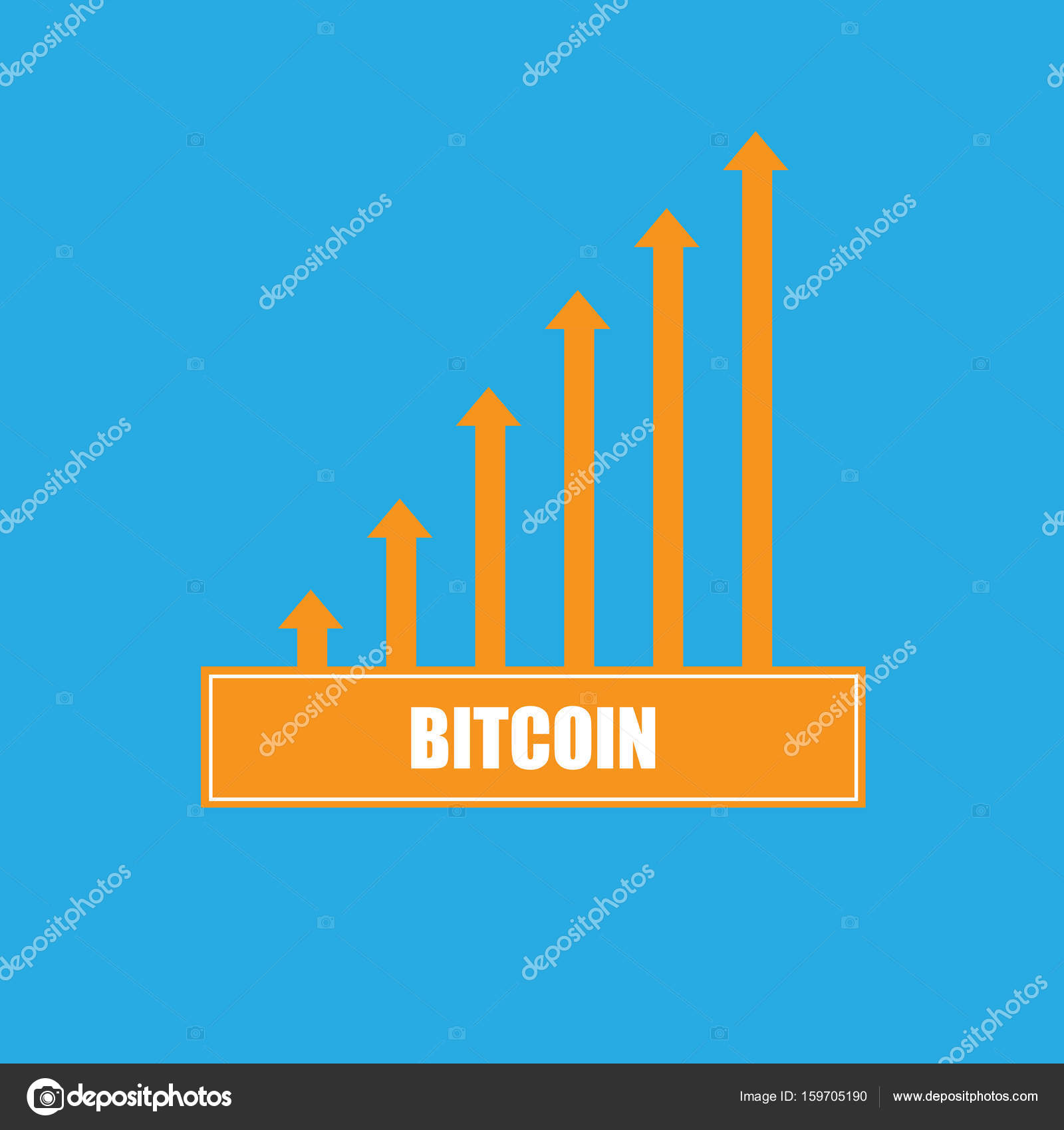 Vector Bitcoin Growth Graph On Blue Background Stock 159705190