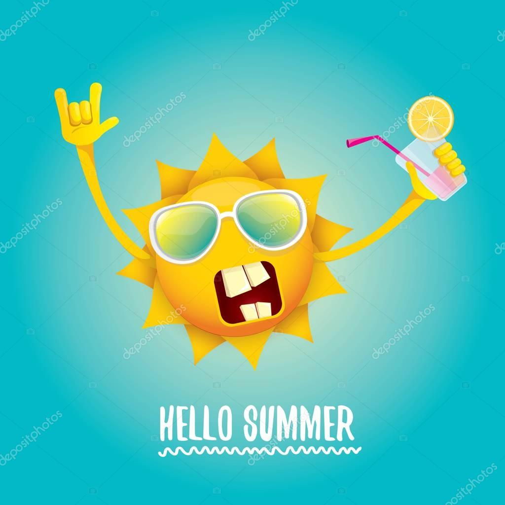hello summer rock n roll vector label or logo.