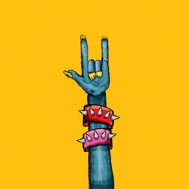 Vector blue cartoon Zombie hand shows rock n roll gesture isolated on orange background with space for text .