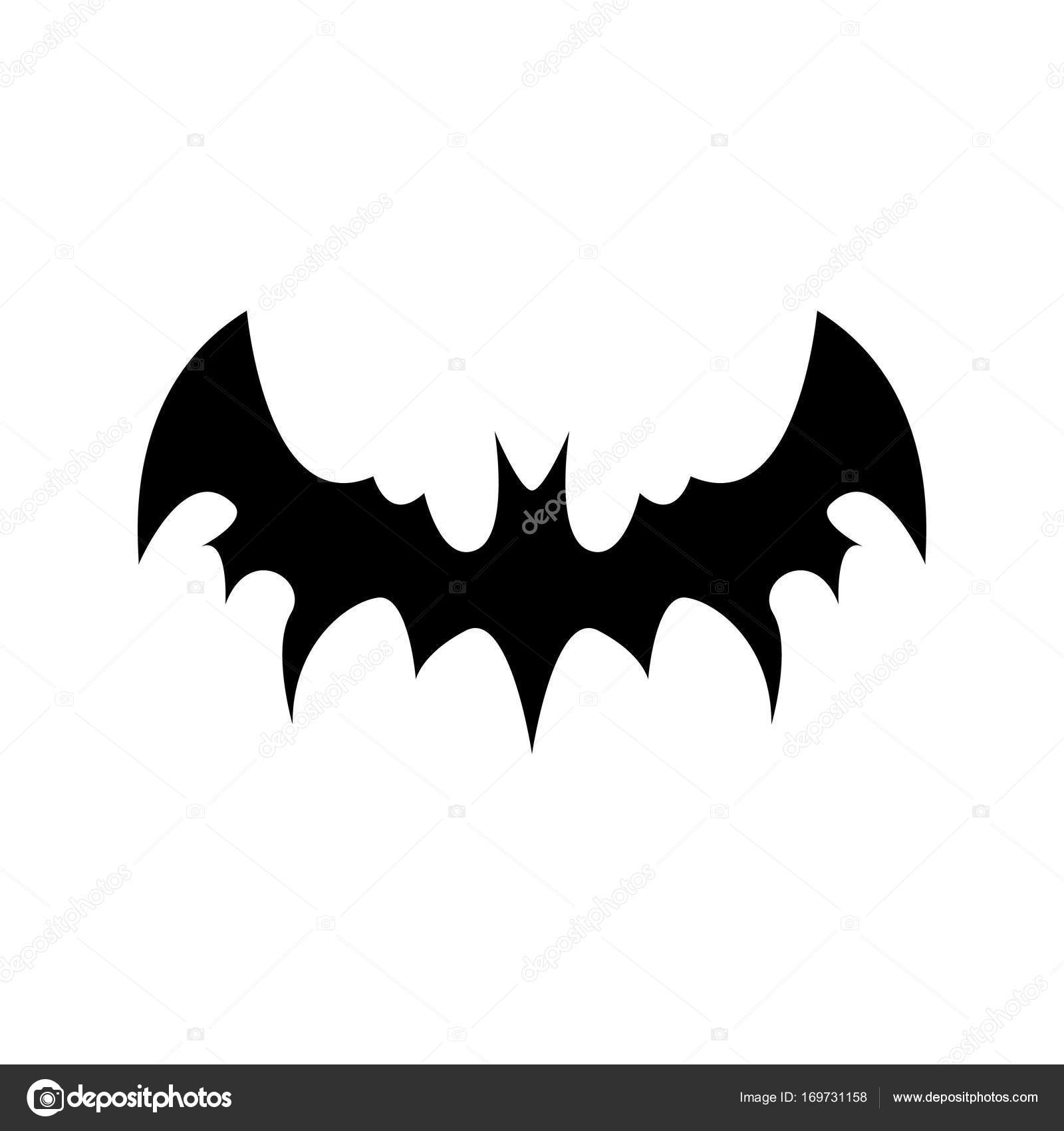vector halloween black bat animal icon or sign isolated on white