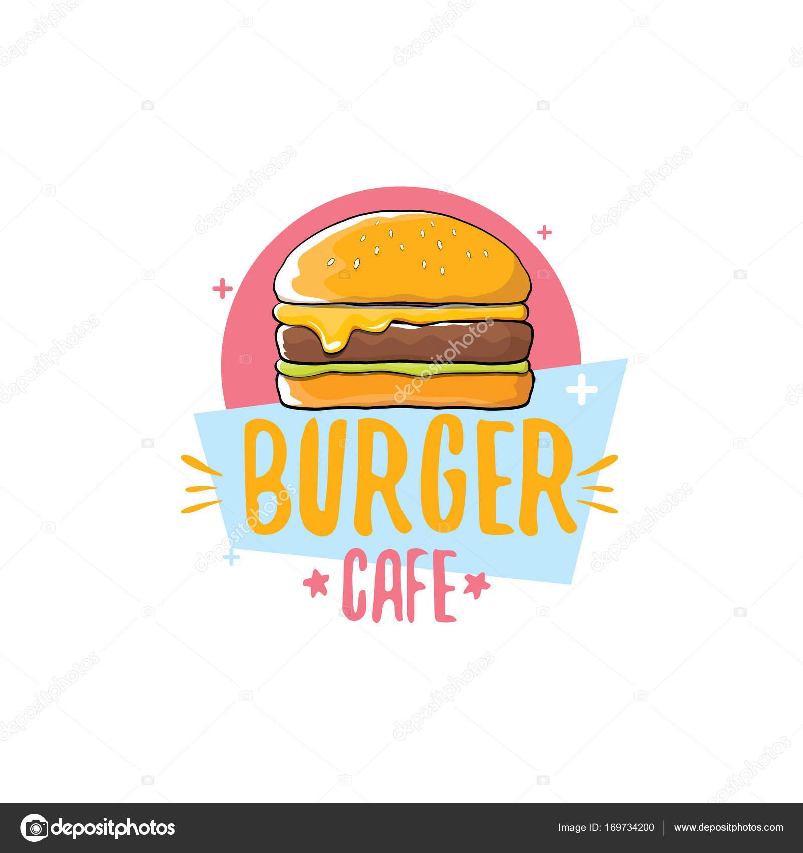 Logos Hamburguesas Americanas Vector De Dibujos Animados Burger
