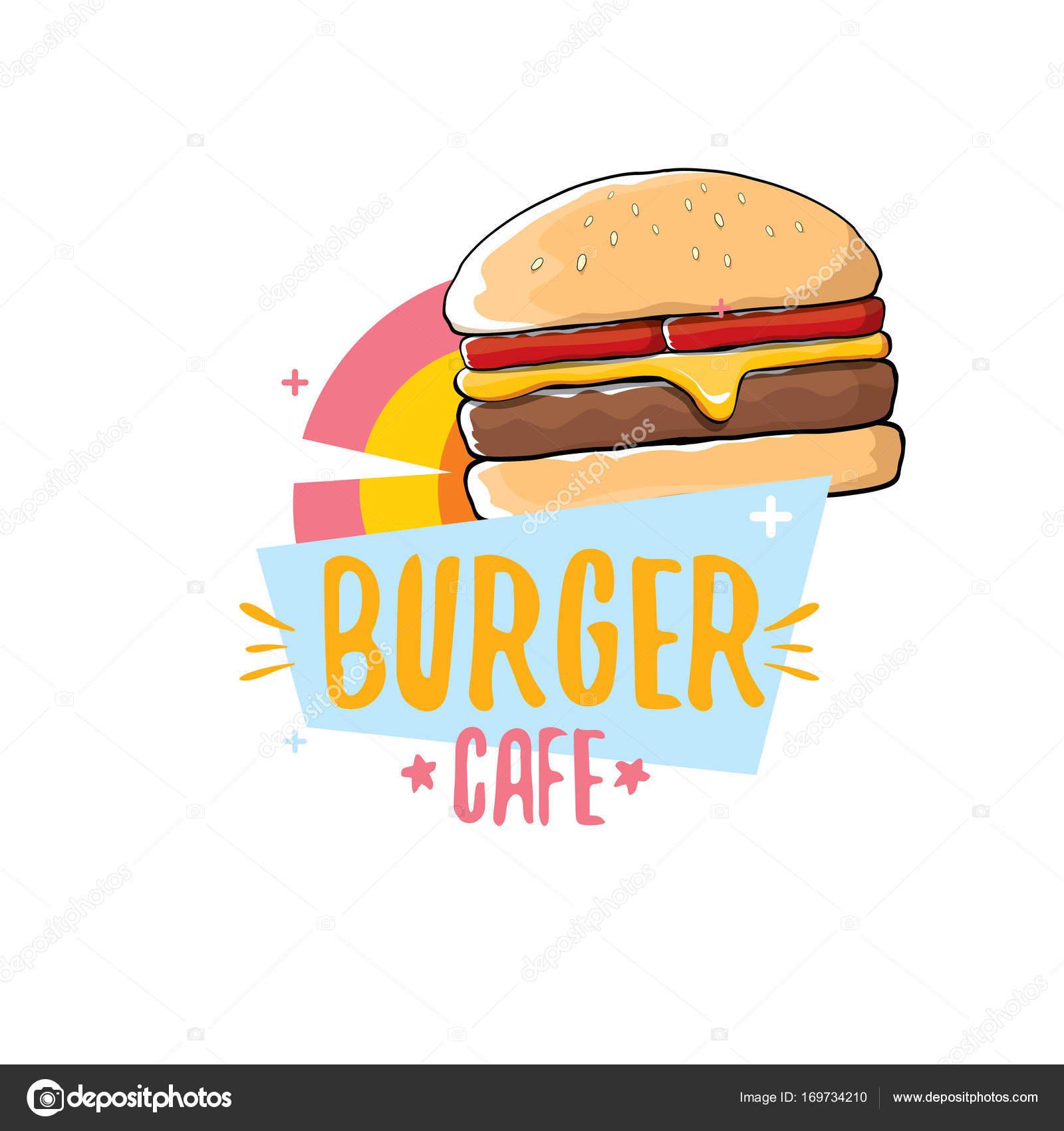 Hamburguesa Logotipo Vector De Dibujos Animados Burger Cafetería