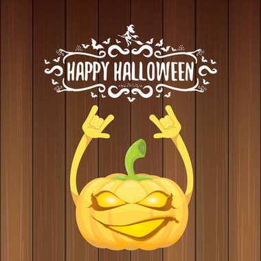 Vector halloween funky rock n roll style pumpkin character and calligraphic halloween hand drawn text on wooden background. Happy halloween rock party concept poster