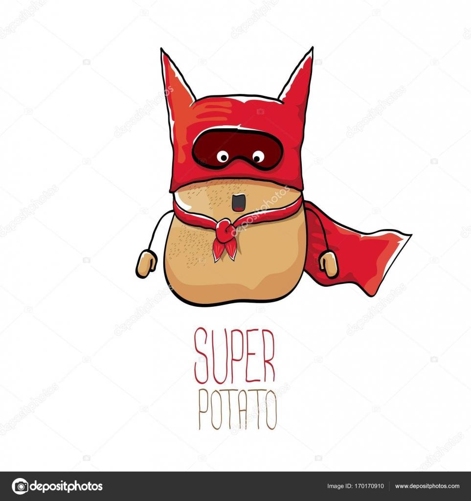 Vector funny cartoon cute brown super hero potato with red