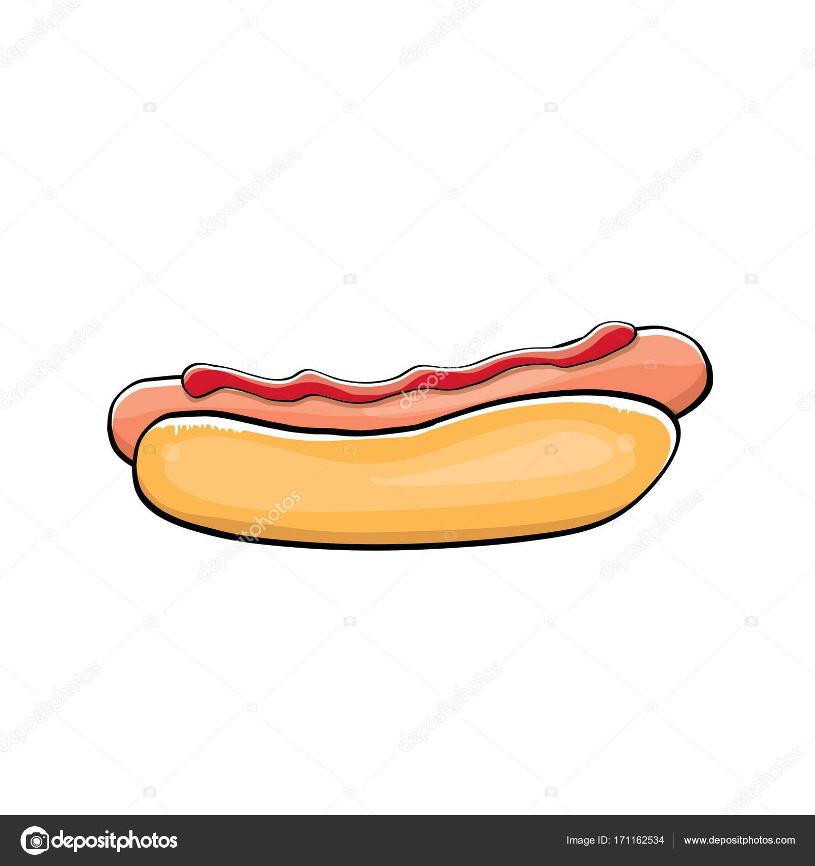 Vector Cartoon Hotdog Icon With Sausage Isolated On White Background
