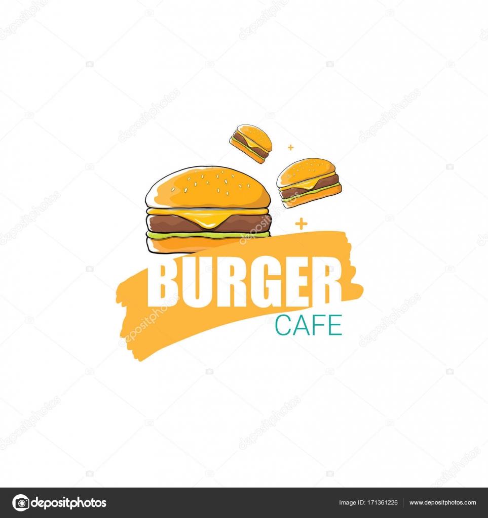 Logos De Hamburguesas Americanas Vector De Dibujos Animados Burger