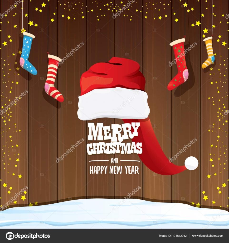 Grüße Frohe Weihnachten.Vektor Rote Weihnachtsmütze Mit Weihnachten Socken Und Gruß Text