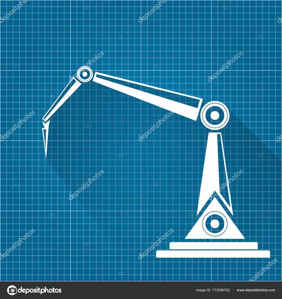 Vector robotic arm symbol on blueprint paper background robot hand vector robotic arm symbol on blueprint paper background robot hand technology background design malvernweather Image collections