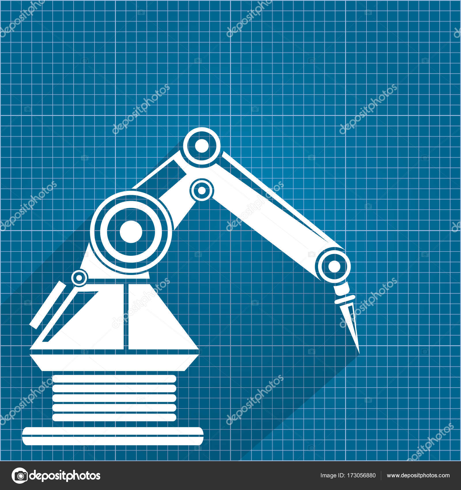 Vector robotic arm symbol on blueprint paper background robot hand vector robotic arm symbol on blueprint paper background robot hand technology background design template vector by zm1ter find similar images malvernweather Gallery