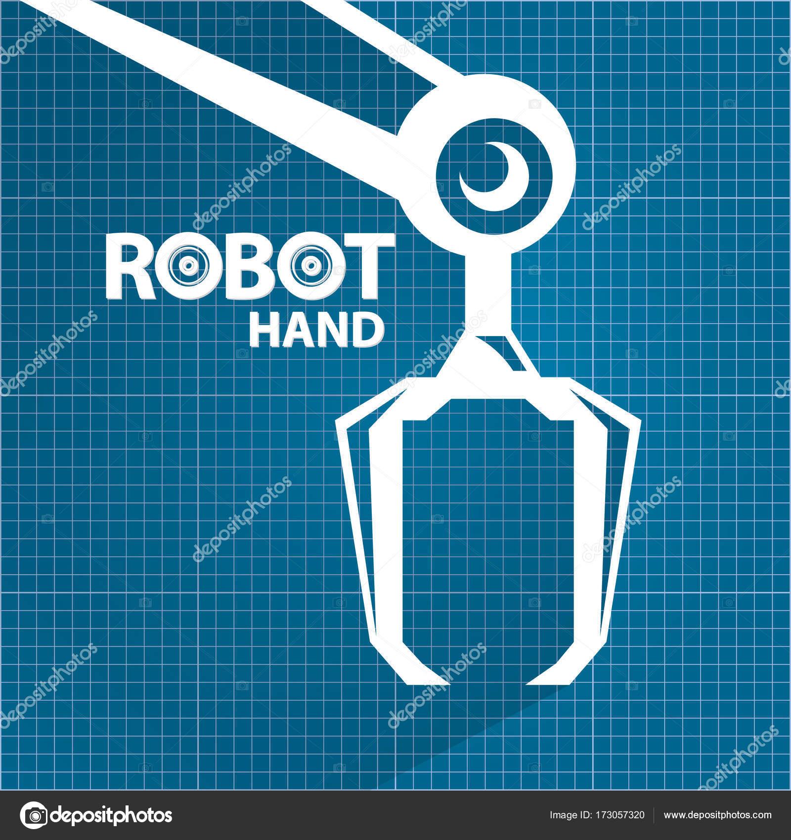 Vector robotic arm symbol on blueprint paper background robot hand vector robotic arm symbol on blueprint paper background robot hand technology background design malvernweather Gallery