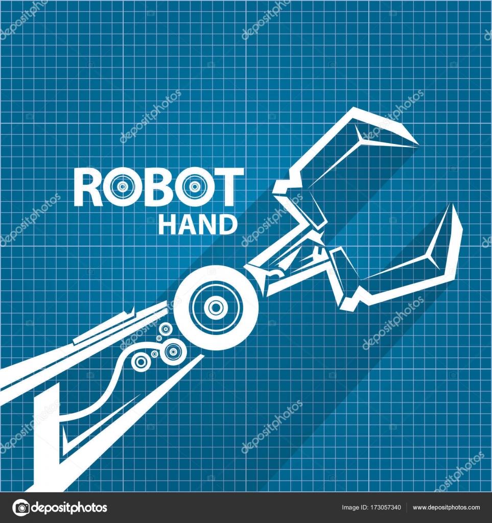 Vector robotic arm symbol on blueprint paper background robot vector robotic arm symbol on blueprint paper background robot hand technology background design malvernweather Choice Image